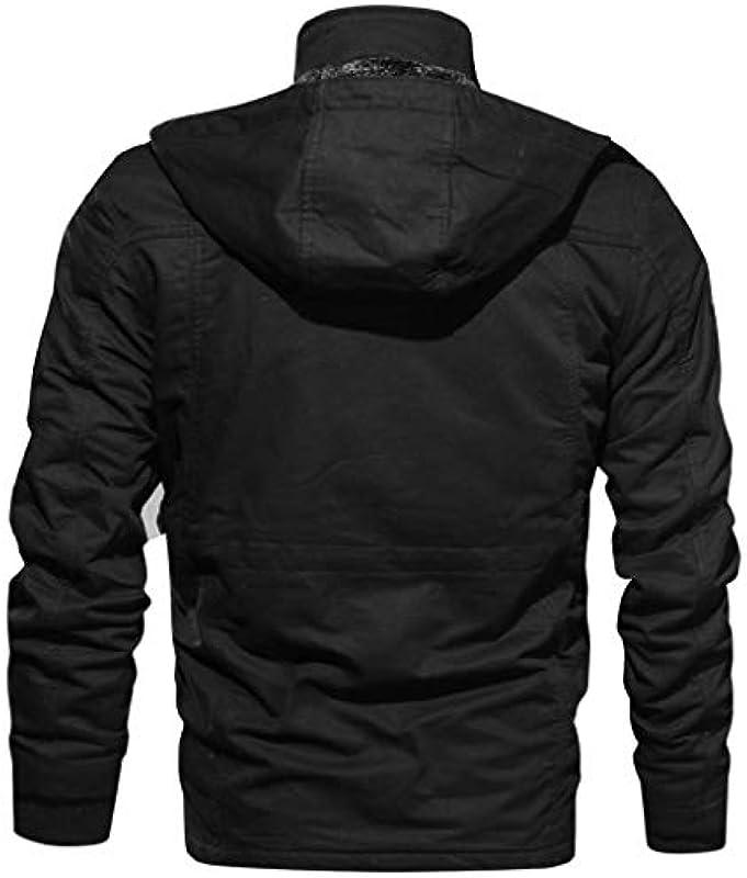 SHOBDW męska ciepła kurtka zimowa parka kurtka ze sztucznym futrem, płaszcz zimowy z kapturem, kurtka przejściowa z podszewką, standardowa kurtka outdoorowa: Odzież