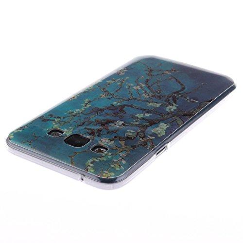 Samsung Galaxy E5 Funda,Ligero a Prueba de Choques Flexible Ultra Fino Suave TPU Parachoque Carcasa MAGQI Tecnología IMD Diseño Impreso Vendimia Serie Patrón [Absorción de Impacto] Resistente a los Ar Melocotón Azul