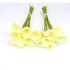 KRexpress 18pcs Artificial Calla Lily Realistic Flower Home Dec Garden Hotel Party Event Christmas Wedding Bouquet Gift Decoration in Cream 21