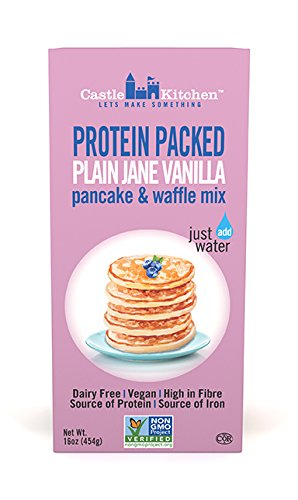 Protein Packed Pancake & Waffle Mix, Plain Jane Vanilla - Dairy-Free & Vegan - Complete Mix, Just Add Water - 16 oz by Castle Kitchen