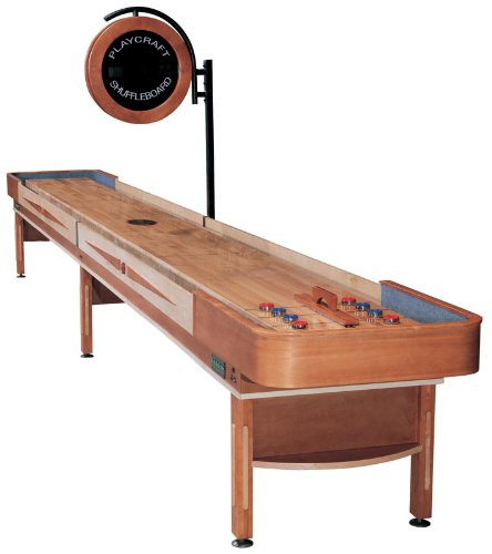 Playcraft Telluride Pro-Style Shuffleboard Table with Electronic Scorer, Honey, 16-Feet