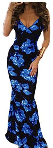 Jaycargogo Femmes Sexy Sangle Spaghetti Imprimé Floral Dos Nu Profond Col V Robe Maxi Moulante Bleu