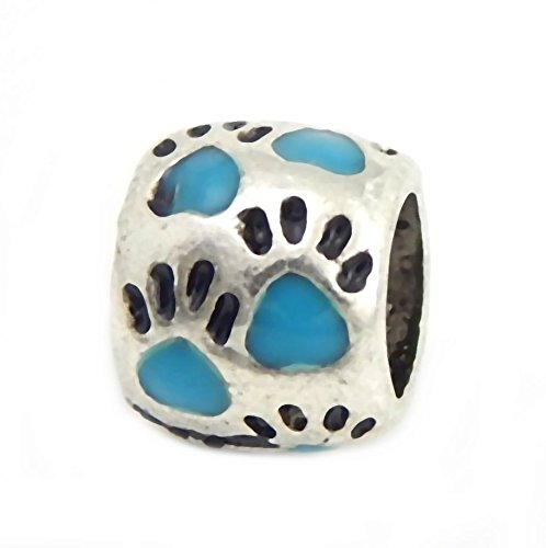 J&M Light Blue Cat/Dog Paw Prints Spacer Charm Bead for Charms Bracelets
