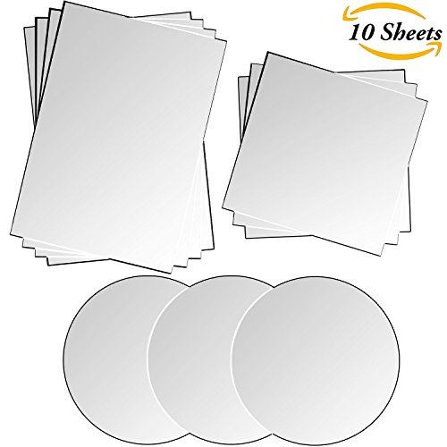 Aneco 10 Sheets Mirror Sheets Self Adhesive Mirror Plastic Tiles Wall Mirror Stickers for Home Decoration, 10mm thickness, Various Shapes (Wall Sticker Mirror Tiles)
