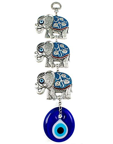 EA Gift Global Blue Evil Eye Bead (Nazar) with (3) Three Elephant Quality Amulet Wall Hanging Decoration Ornament - Home Blessing Good Luck and Protection Charm (Alternative 03)