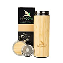 Premium Bamboo Travel Tumbler By NiftyCORE - Double Wall Insulated Stainless Steel Interior - Leak Proof Travel Coffee Mug With Lid & Strainer - Ideal Tea & Fruit Infuser - 14 fl. Oz. / 400 ml