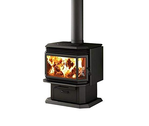 - Osburn 2200 Wood Stove (OB02211-OA10140-OA10100), Black Door Overlay, Black Louvre, Trivet Kit