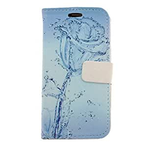 xiao Blue Water Rose Drawing Pattern Faux Leather Hard Plastic Cover Pouches for Samsung Galaxy S3 I9300