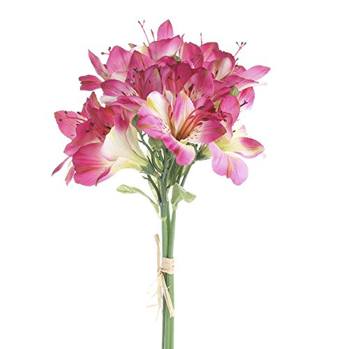 Pair of Lovely Variegated Fuchsia Realistic Look Lily Bouquets for Home Decor, Crafting and Arranging