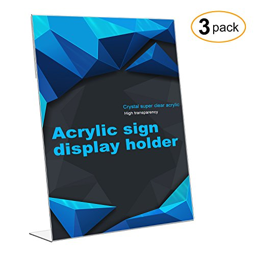 CRUODA Acrylic Sign Display Holder Wider Base, Menu Holders, Table Card Holders, Photo Frames, Ad Frames (L-shape 3pc 8.5x11) - Long Menu Card