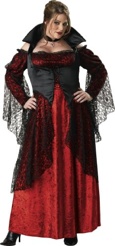 InCharacter Costumes, LLC Vampiress Adult Plus Full Length Gown, Red/Black, XXX-Large
