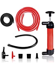 FLORO Manual Siphon Pump Kit, 15 Inches Siphon Tube, Red and Black