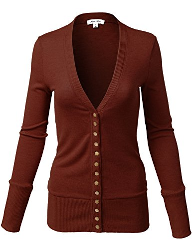 Luna Flower Women's Mixed Knit V-Neck Brass Snap Button Sweater Cardigans Dark_Rust S (Womens Wear Waterfall)