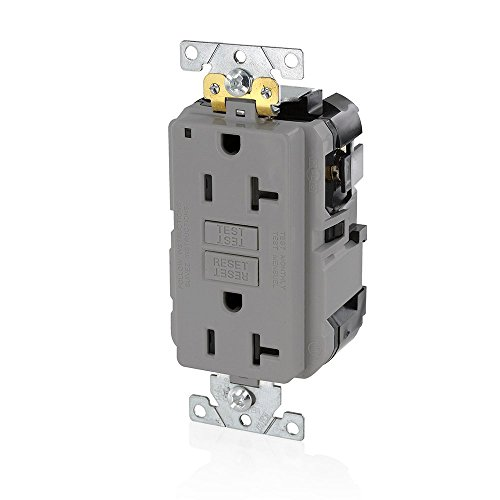 Leviton MGFN2-GY Lev-Lok Modular Wiring Device 20A-125V Extra-Heavy Duty Industrial Grade Non-Tamper-Resistant Duplex Self-Test GFCI Receptacle, Gray - Wiring Gfi Outlet
