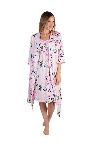 Nightgown Robe Sets - Baby Be Mine Maternity/Nursing Sleeveless Nightgown & Delivery Robe Set (Medium pre Pregnancy 8-10, Amelia)