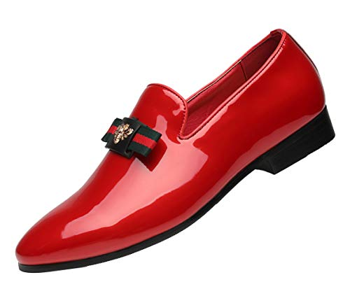 Men's Loafers Fashion Casual Shoes Retro Patent Leather Bow-tie Slip on Driving Flats Red 12 D(M) US