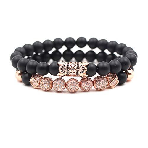 - SEVENSTONE 2PCS Black Matte Onyx Prayer Beads Bracelet for Men Women Elastic Natural Stone