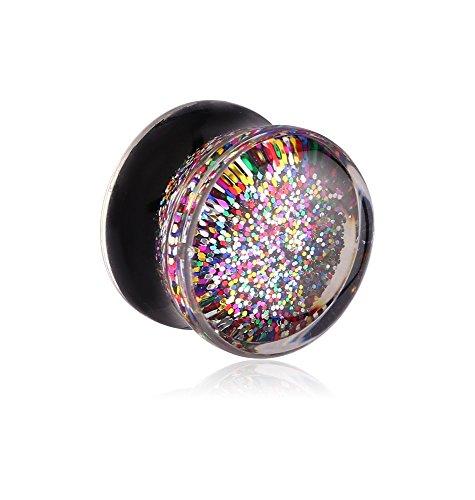 (Holy Plug Body Piercing Jewelry Single Uv Acrylic Double Flared Plug With Inlaid Glitters 5/8 11/16 0g)