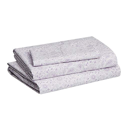 "AmazonBasics Lightweight Super Soft Easy Care Microfiber Bed Sheet Set with 16"" Deep Pockets - Full, Lavender Paisley"