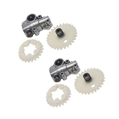 2 Set Oil Pump Worm Gear Spur Wheel For Stihl 028 038 048 MS380 MS381 Parts
