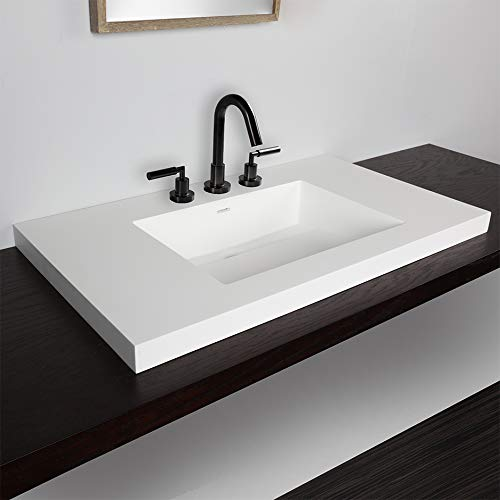 Vanity-top Bathroom Sink made of solid surface, with an overflow and decorative drain cover. 03 - three faucet holes in 8