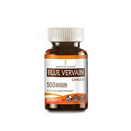 Blue Vervain 90 Capsules, 500 mg, Organic Blue Vervain (Verbena Hastata) Dried Herb (90 Capsules)