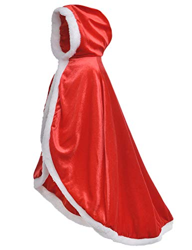 Little Red Riding fur princess cape Hood Cloaks Costume for Girls 6-7 Years(130cm)