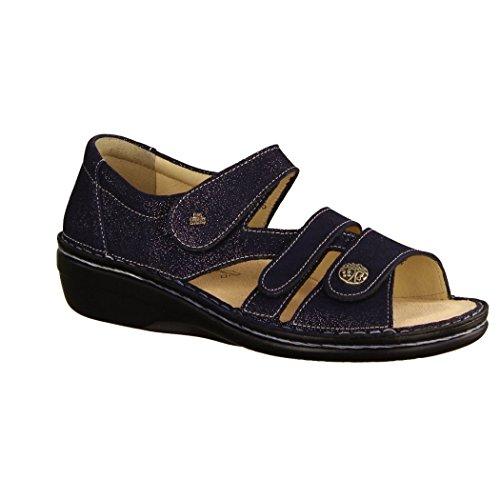 Finn Comfort Sandalo-soft-sandal Scarpe Comode / Loose Inserto, Blu, Pelle (glitter) Blu