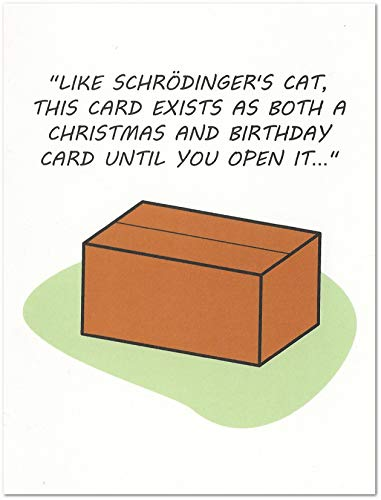 Schrodinger's Cat Science Card for Christmas/Valentine's Day/Birthday (4.25
