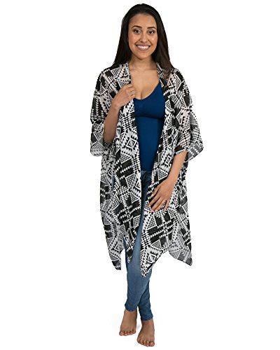 - Kindred Bravely Sheer Cardigan Nursing Wrap & Kimono (Black & White Geo Print, One Size)