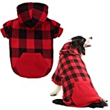 KOOLTAIL Plaid Dog Hoodie for Large Dogs Pet Clothes, Red XXL For Sale