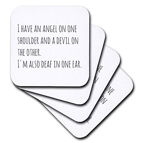 3dRose 3Drose Gabriella-Quote - Image of I Have Angel On One Shoulder And A Devil On The Other Quote - set of 4 Coasters - Soft (cst_319460_1) ()