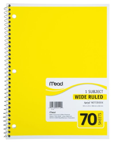 Mead Spiral Notebooks Subject Sheets