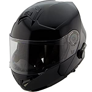 Hawk H7000 Glossy Black Modular Motorcycle Helmet with Blinc Bluetooth - Small