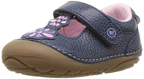 Stride Rite Girls' Soft Motion Kelly T-Strap Mary Jane Flat, Navy 3 M US Infant