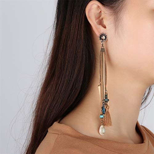 Myhouse Vintage Alloy Tassel Long Dangle Faux Pearl Charm Earrings by Myhouse (Image #2)