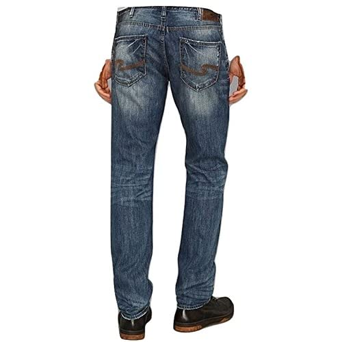 cheap SILVER JEANS NASH STRAIGHT SLIM FIT STRAIGHT LEG JEANS DENIM