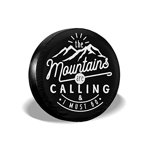 The Mountains are Calling and I Must Go Cars Spare Tire Cover Cutomobile Tire Cover Tyre Size 14