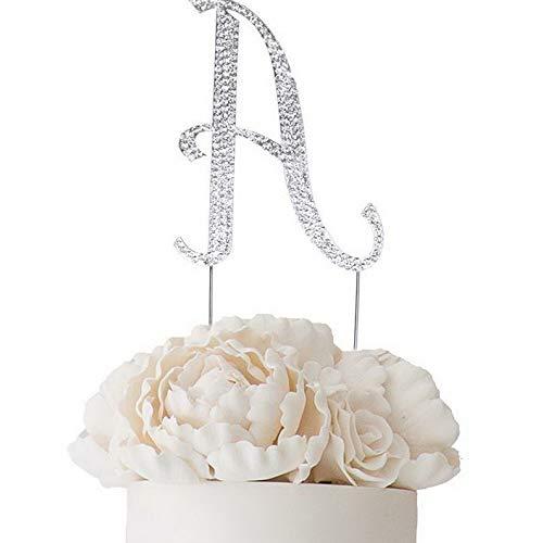 (Mikash 4.5 Tall Rhinestone Cake Topper Wedding Party Decorations Supplies on Sale | Model WDDNGDCRTN - 5982 |)