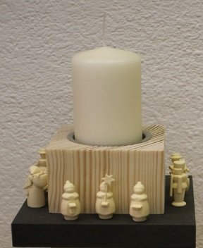 Chandelier stele with miniatures, largely height of approx. 17 cm AGAIN Candle holder Candle holder