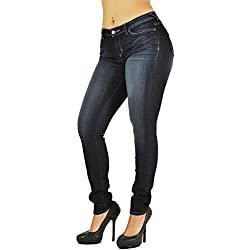 Poetic Justice Women's Curvy Fit Stretch Denim Basic Blasted Midrise Skinny Jeans Size 31 x 30Length