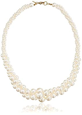 Colored Simulated Three Strand Twisted Pearl Necklace, 18""