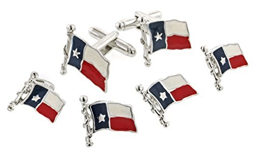 JJ Weston Texas Flag Tuxedo Cufflinks and Shirt Studs. Made in the USA.