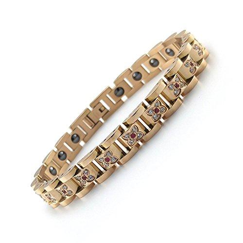 Fitaco 핸드 체인 팔찌 게르마늄 지르콘 레드 워터 《헤마타이토》 스테인레스 패션 고급인 디자인 로즈 골든 선물용 귀엽다