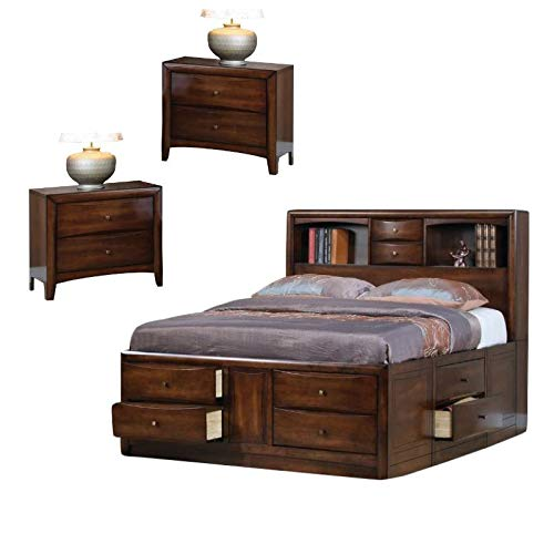 Home Square Queen Bookcase Bed with Storage Drawers and 2 Nightstands in Maple (Hillary Walnut)