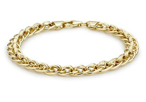 """Jewellery World Bague en or jaune 9carats Roller texturé Bracelet 19cm/7,5"""""""