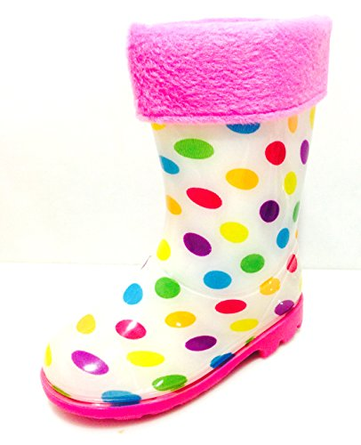 Toddler & Little Girls Youth White Polka Dot Rain Snow Boots w/Great Lining, Comfortable (3)