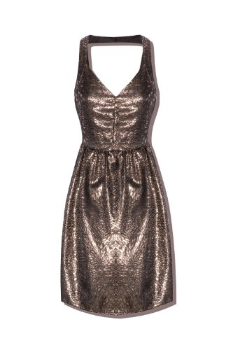 Q2 Women's golden Jacquard Kleid