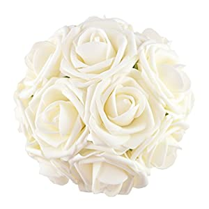 BQUQO Artifical Flowers Roses Fake Roses Steam for Wedding Bouquets Baby Shower Party Table Centerpieces Decorations 10 pcs, Ivory 50