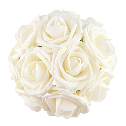 BQUQO Artifical Flowers Roses Fake Roses Steam for Wedding Bouquets Baby Shower Party Table Centerpieces Decorations 10 pcs, Ivory]()